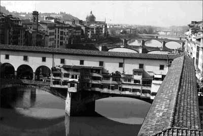 Across the Bridge to the Palatine Gallery, Florence, Italy