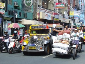 Jeepney transport in the city of Manila